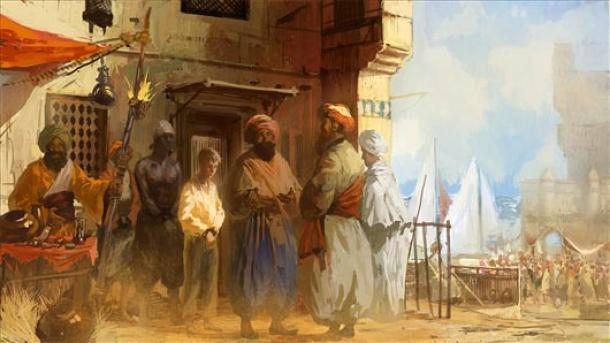 Las víctimas capturadas llegan a la costa de Berbería para ser vendidas como esclavas.
