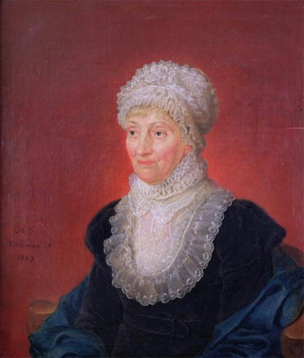 Carolina Herschel a los 78 años, un año después de ganar la Medalla de Oro de la Royal Astronomical Society en 1828. (Bernd Schwabe en Hannover / Dominio publico)