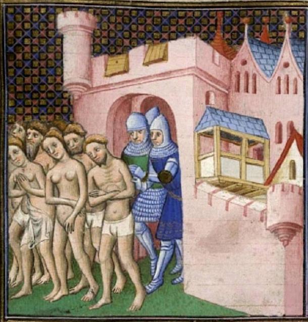 Los cátaros expulsados de Carcasona en 1209. En este grupo, las mujeres parecen ser casi tan numerosas como los hombres. (Poeticbent / Public Domain)
