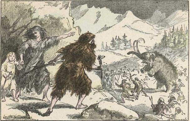 Caza de mamut durante la edad de hielo. Fecha: alrededor del año 11 000 aC (Archivero / Adobe Stock)