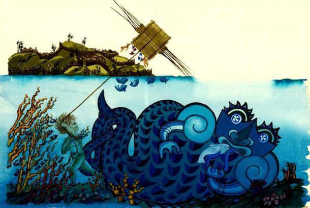 Celebrar a Matariki se ha vuelto más importante para los neozelandeses en los últimos años. El folclore maorí incluye muchos dioses o guardianes, incluido Tangaroa, el guardián del mar y todas sus criaturas marinas. Esta imagen fue creada por Clare Bowes y se conserva en Archives New Zealand. (Clare Bowes / CC BY-SA 2.0)