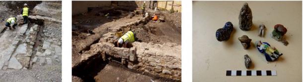 Arqueólogos trabajando duro y una selección de figurillas de cerámica de mediados del siglo XIX encontradas en el sitio. (Arqueología AOC)