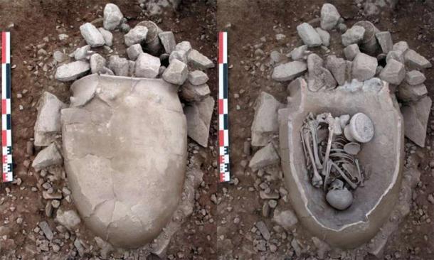 Vasija de cerámica para almacenar granos utilizados en el entierro de una mujer adulta. Tumba 21 de La Bastida de El Argar. (ASOME / UAB)