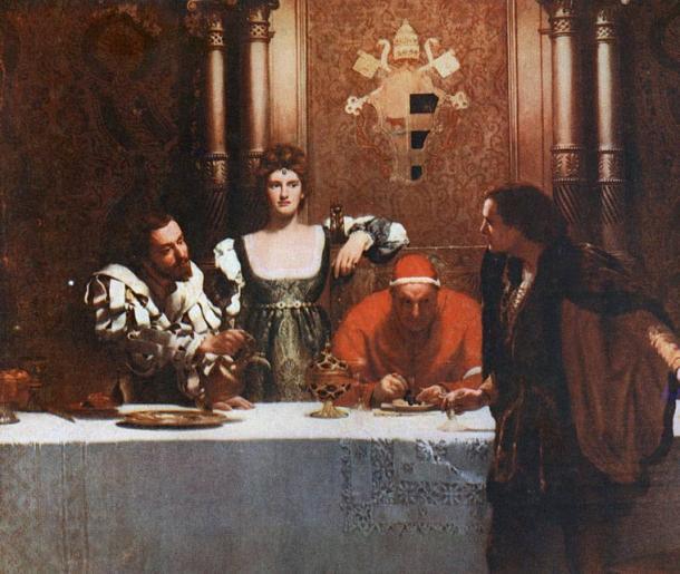 """Cesare Borgia (su hijo), Lucrezia Borgia (su hija), el Papa Alejandro VI y un joven con un vaso vacío. Se dice que la pintura titulada """"Una copa de vino con César Borgia"""" (1893) de John Collier, representa la visión popular de la naturaleza traicionera y sin escrúpulos de la familia Borgia, lo que implica que el joven no puede estar seguro de que el vino ha sido envenenado. (Dominio público)"""