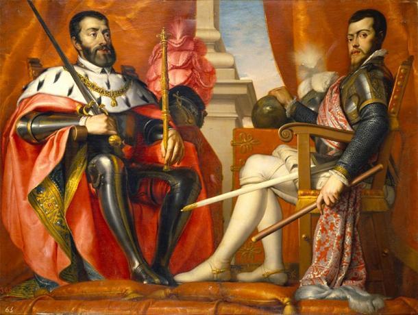 Carlos V, Sacro Emperador Romano y Rey de España (izquierda) con su hijo Felipe. (EeuHP / Dominio público)