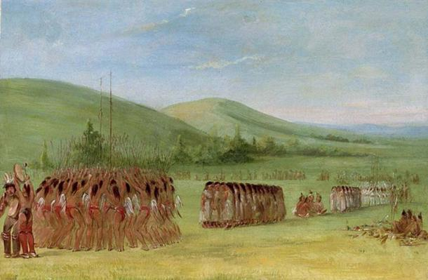 Cherokee stickball es un evento ceremonial, antes de que los jugadores y sus partidarios pasaran la noche cantando, bailando y solicitando apoyo divino. (Yarnalgo / Dominio Público)