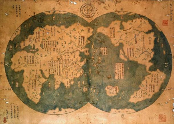 Reproducción de un supuesto mapa chino de 1418 que muestra algunas de las Américas. (Dominio público)