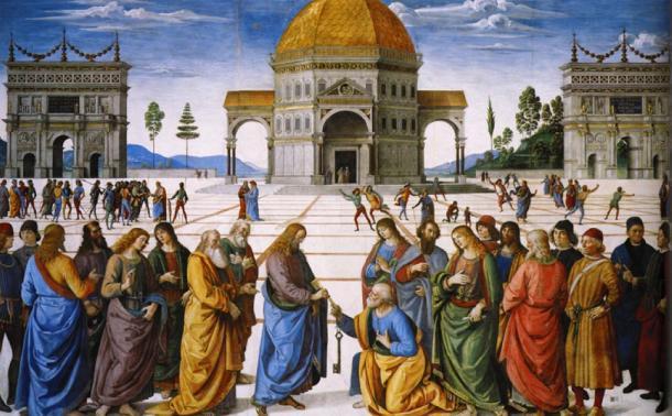 'Cristo entregando las llaves a San Pedro' de Pietro Perugino (1481-82). (Dominio público)
