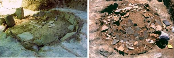 Dos de los sitios de excavación de zanjas circulares en el complejo Perdigões en Portugal (Programa de Investigación Perdigões)