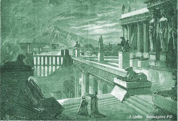 1859 Dibujo imaginativo de la ciudad de Herculano. (Dominio público)