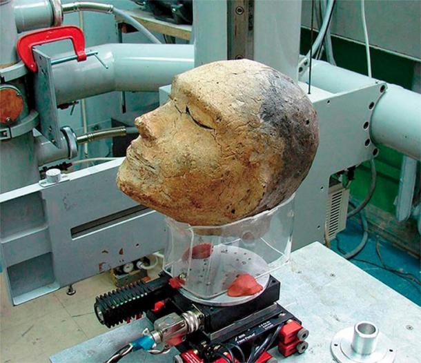 Cabeza de arcilla preparada para fluoroscopia en el Instituto de Física Nuclear, SB RAS. Imagen: Vyacheslav Porosev, Instutute of Nuclear Physics, SB RAS