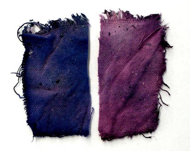 Paños preparados con la tinta azul medieval recreada del jugo de las frutas, después de que los expertos siguieron las antiguas instrucciones. (Paula Nabais et al. / Science Advances)