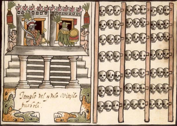 1587 Ilustración del Codex Tovar. Izquierda: Un templo o pirámide coronado por las imágenes de dos dioses flanqueados por nativos mexicanos. Derecha: Un tzompantli (estante de calaveras azteca). (Dominio público)