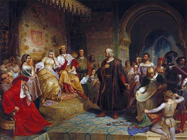 """""""Colón ante la reina"""" (1843) de Emanuel Leutze. (Dominio publico)"""