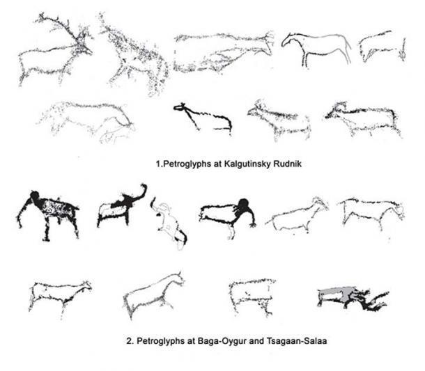 Comparación del arte rupestre paleolítico en el sitio Kalgutinsky Rudnik con los petroglifos en los sitios Baga-Oygur y Tsagaan-Salaa. (Vyacheslav Molodin et al. / Siberian Times)