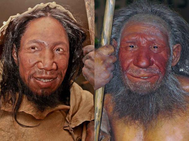 Comparación de caras de Homo sapiens (izquierda) y neandertal (derecha). (Daniela Hitzemann (fotografía izquierda), Stefan Scheer (fotografía derecha) / desconocido (reconstrucciones) / CC BY-SA 4.0)