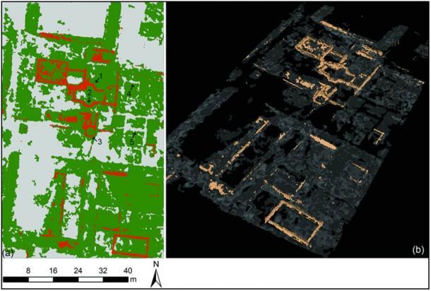 La detección de objetos asistida por computadora se ha empleado para crear representaciones 3D: a) los objetos de pared se proyectaron en un mapa 2D; b) Representaciones 3D que muestran los mismos resultados, con pisos semitransparentes. (Imagen: L. Verdonck / Antiquity Publications)