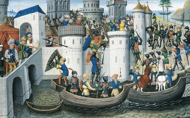 Conquista de Constantinopla por los cruzados en 1204. (Dominio público)