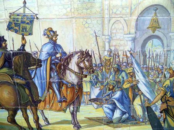 La conquista de Toledo por Alfonso VI en mayo de 1085 representada en un banco de cerámica en la Plaza de España de Sevilla. (Carlos V de Habsburgo / CC BY-SA 3.0)