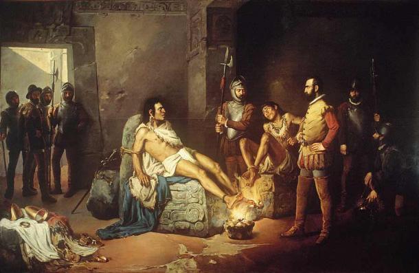 Cortés supuestamente interrogó a Cuauhtémoc y a otros nobles indígenas antes de ejecutarlos en 1525. (Dominio público)