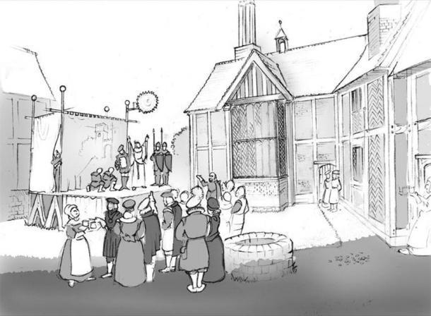 El patio del nuevo lugar con un escenario erigido, jugadores y público invitado, basado en reconstrucciones de actuaciones en los teatros de la posada del patio. Ilustración de Philip Watson, autor proporcionado (sin reutilización)