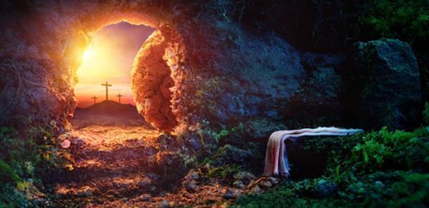 Crucifixión Al Amanecer - Tumba Vacía Con Sudario - Resurrección De Jesucristo. (Romolo Tavani / Adobe)