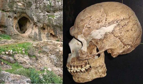 Izquierda: Cueva Es Skhul, Monte Carmelo, Israel (CC BY SA 3.0 ). Derecha: Un cráneo encontrado en la cueva, que representa a un humano arcaico y anatómicamente moderno (CC BY SA 3.0 ).
