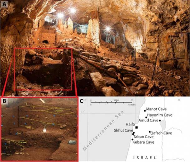 Vista de la cueva. (B) Capas arqueológicas atribuidas a las primeras culturas del Paleolítico Superior en la cueva. (C) Mapa del norte de Israel que muestra la ubicación de la cueva Manot. (Sarig et al)