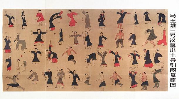 Gráfico chino antiguo Daoyin tu, para hacer ejercicio para mejorar la salud y para el tratamiento del dolor. Basado en una reconstrucción del 'Gráfico de guía y tracción' excavado en la Tumba 3 de Mawangdui en el antiguo reino de Changsha. (Galería de la Colección de Bienvenida / CC BY 4.0)
