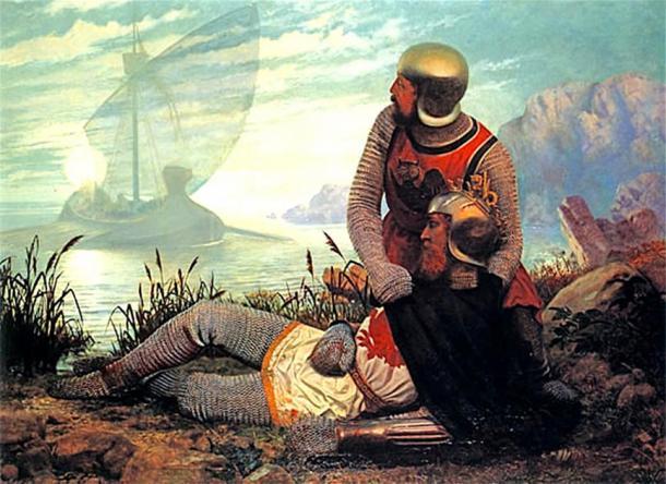 La muerte de Arturo representada aquí y en la leyenda artúrica. Llega un bote para llevar al moribundo Arturo a Avalon después de la Batalla de Camlann. (Shuishouyue / Dominio público)