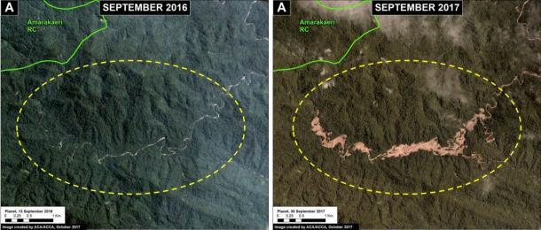 Estas imágenes muestran cómo la minería ilegal de oro provoca la deforestación en la zona de amortiguamiento de la Reserva Comunal Amarakaeri. (SERNANP / Monitoreo del Proyecto Amazonia Andina)