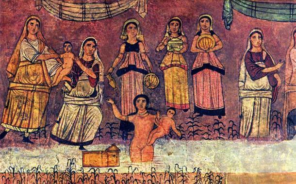 Representación del hallazgo de Moisés junto al río, de un fresco de la sinagoga Dura Europos. La historia es parte del Shemot o Libro del Éxodo. (Dominio público)