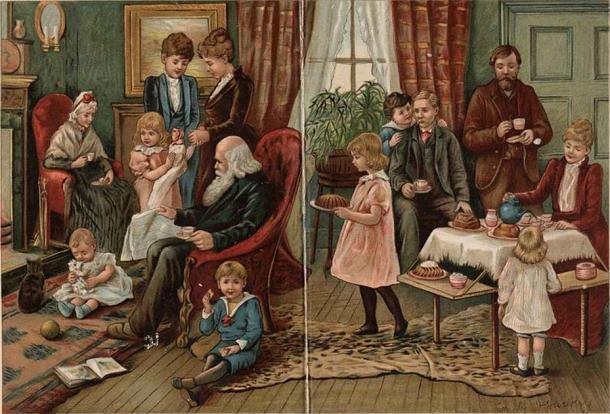 Representación de una familia victoriana en casa. (Dominio publico)