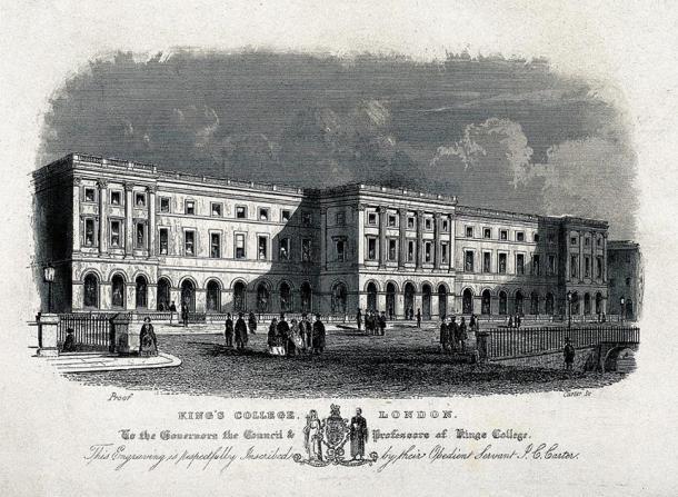 Representación del King's College London (una de las instituciones fundadoras de la Universidad de Londres) durante la época victoriana, grabada durante el siglo XIX. (J.C Carter / CC BY 4.0)