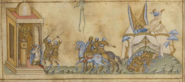 Representación del ángel que viene a matar al rey Senaquerib y su ejército, mientras reza ante su ídolo pagano. (Dominio publico)