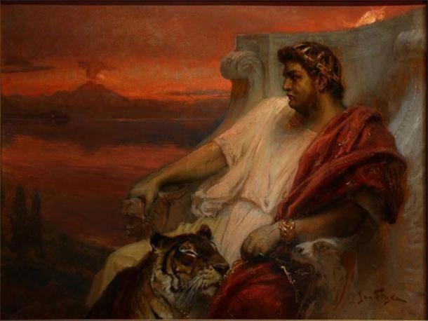 Una representación del emperador Nerón con un tigre y Roma ardiendo en el fondo durante el Gran Incendio. (Dominio publico)
