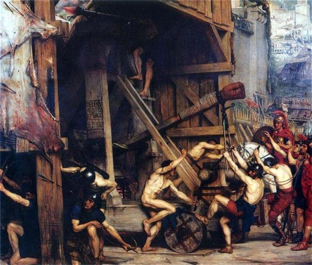 Representación de una antigua catapulta romana. (Edward Pointer (1868) / Dominio público)