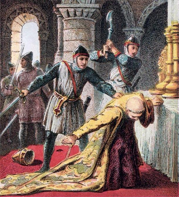 Representación del asesinato de Thomas Becket por los caballeros del rey. (Joseph Martin Kronheim / Dominio público)