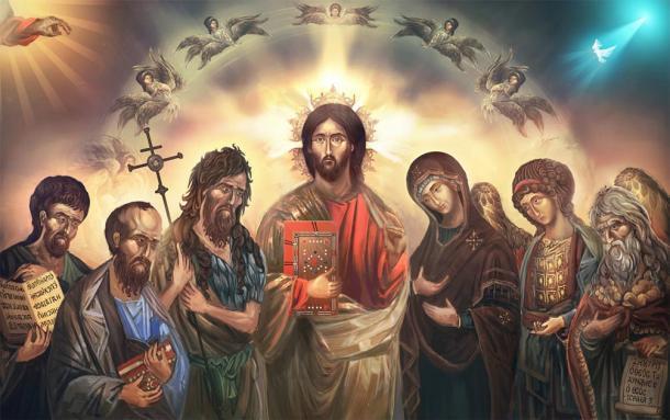 Representación de Jesucristo rodeado de sus santos y discípulos. (vukkostic / Adobe stock)