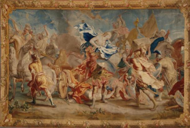 Representación de una batalla durante la Guerra de Troya, que incluye caballos y carros, donde Menelao luchó en París. (Museo de Arte del Condado de Los Ángeles / Dominio público)