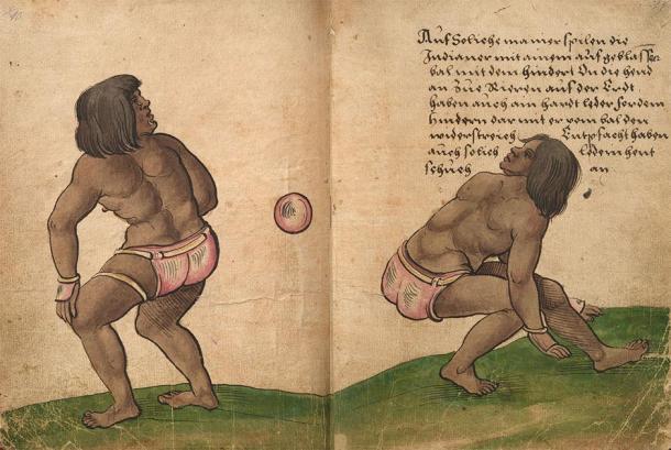Representación de jugadores golpeando una pelota de goma con sus caderas en una versión del famoso juego de pelota de Mesoamérica. (Christoph Weiditz / Dominio público)