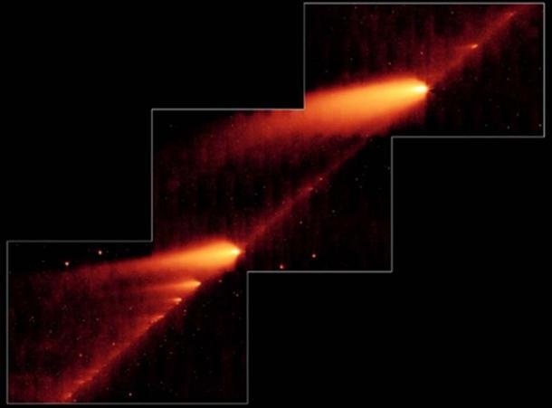 Desintegración del cometa 73P, Schwassmann-Wachmann, observado con el Telescopio Espacial Spitzer. (Imagen cortesía de NASA / JPL-Caltech / W. Reach, autor suministrada)