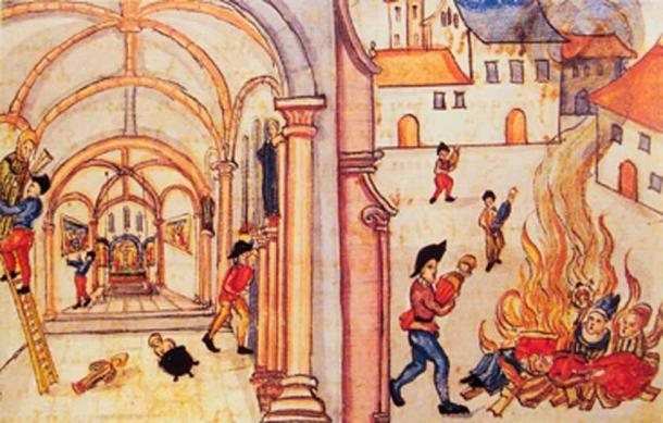 Destrucción de imágenes religiosas por los reformados en Zurich, 1524. (Uploadalt / Dominio público)