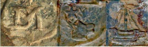 Detalle del sello del clan Campbell que muestra: A) la marca del fabricante DM; B) la cabeza del ciervo; C) la galera. (Sarah Lambert-Gates y Darko Maricevic ̌ / Antiquity Publications Ltd)