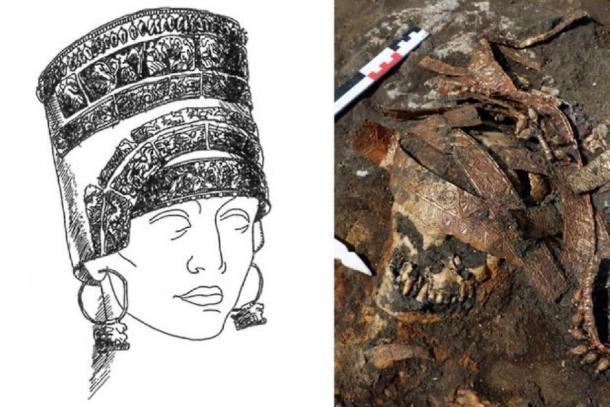 Derecha: Detalles de calathus en el cráneo de la amante. Izquierda: reconstrucción gráfica de Calathos. (Imagen: archaeolog.ru)