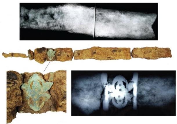 Detalles y rayos X de la espada desenterrada de la tumba guerrera de la Edad de Hierro. (UCL / ASE)