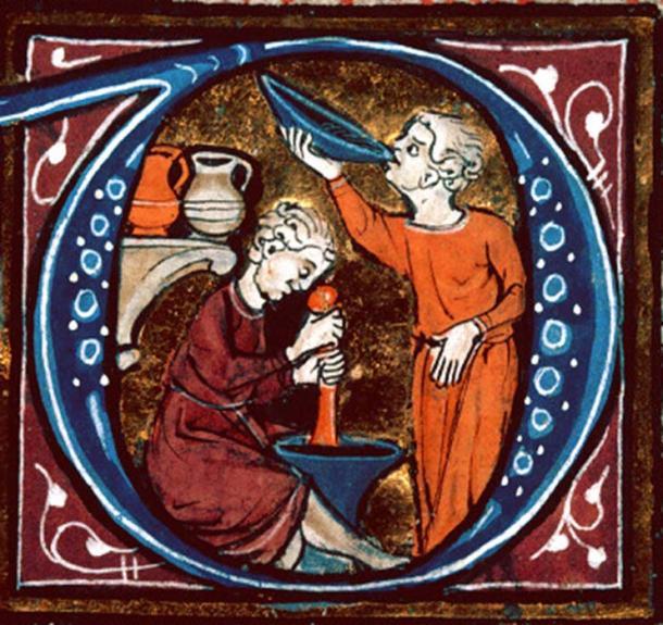 Detalle de un guión iluminado en una copia del 'Canon of Medicine' de Avicenna. (Dominio público)