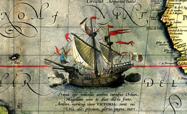 Detalle de un mapa de Ortelius: el barco Victoria de Magallanes. (Dominio publico)
