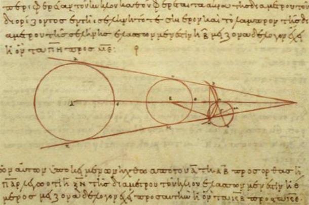 Una reproducción del siglo X de un diagrama de Aristarco que muestra parte de la geometría que utilizó en sus cálculos, demostrando los avances realizados en la astronomía griega antigua. (Dominio publico)