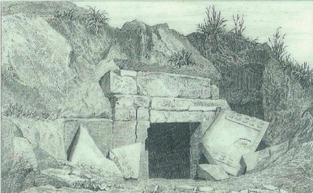 Dibujo de la tumba de Olimpia por el arquitecto francés Pierre Jérôme Honoré Daumet, en 1855. (Pontos News)